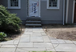 Bluestone tile over snow melt cable