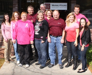WarmlyYours staff wearing pink on Fridays in October to raise breast cancer awareness.