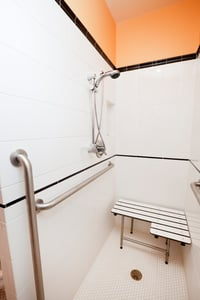 Good lighting, grab bars, no slip surfaces,  and floor warming add safety, comfort and convenience to any bathroom remodeling project.