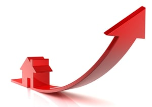 Home sales rising arrow