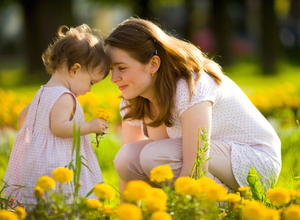 Mother and daughter in field of flowers