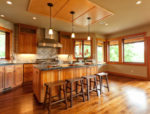 Radiant Heat under beautiful hardwood flooring makes this kitchen the family's favorite place to gather