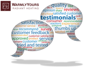 Talk bubbles represent customer testimonials and feedback