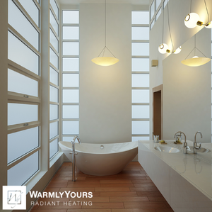 Elegant master bathroom with bamboo flooring enhanced by radiant heated floors