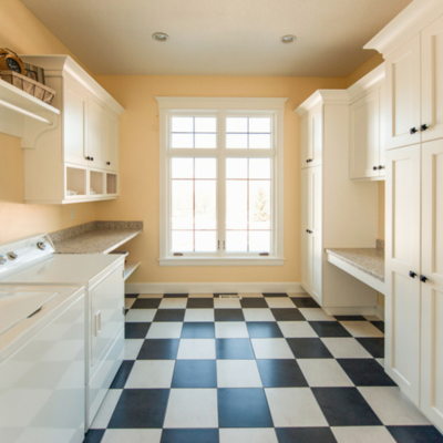 Laundry room with heated floors
