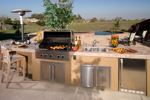 outdoor kitchens can be used all year long with radiant heat