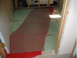 installing WarmlyYours radiant floor heating in a bathroom remodel