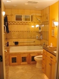 master bathroom after remodel with radiant heat