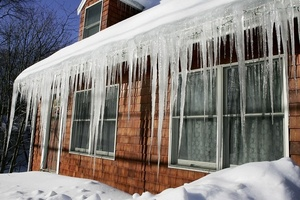 Ice damming on a roof and in gutters
