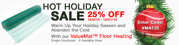TempZone ValueMat Floor Heating Holiday Sale