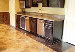 Kitchen Designs with concrete Flooring