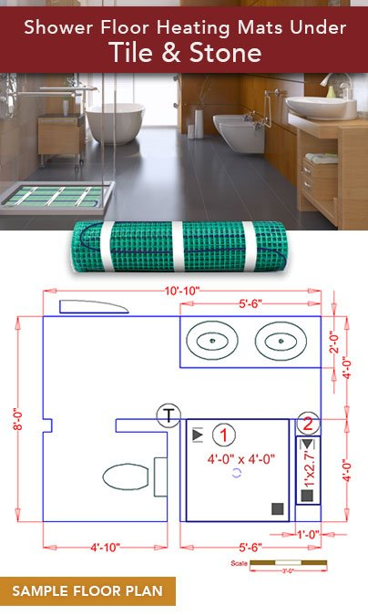 Spot Coverage Floor Heating for Shower and Bench Mats