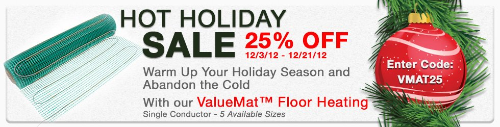 TempZone ValueMat Electric Floor Heating Tile and Stone Holiday Sale