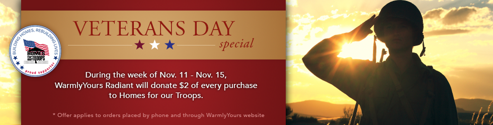 Veterans Day promotion WarmlyYours